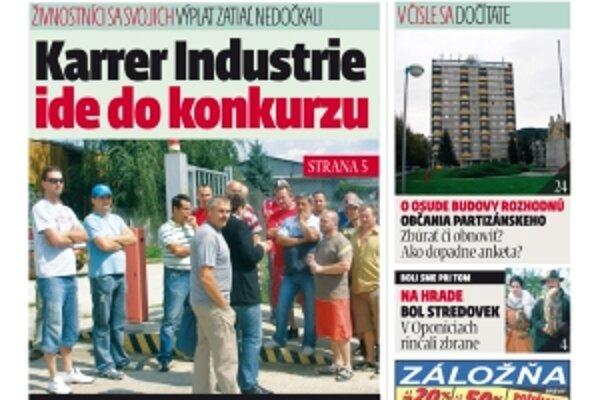 MY Topoľčianske noviny Dnešok kúpite aj u nás v redakcii za zvýhodnenú sumu iba 40 centov.
