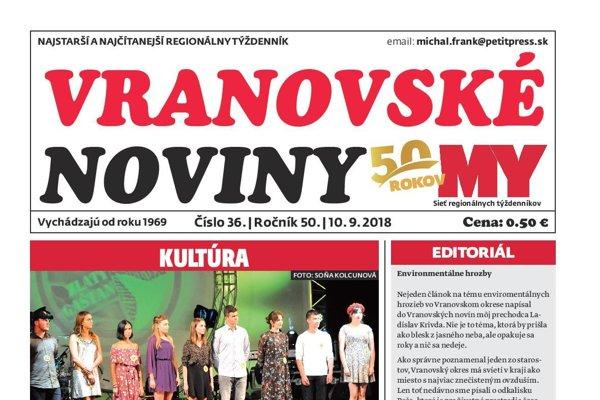 Titulná strana týždenníka Vranovské noviny č. 36/2018.
