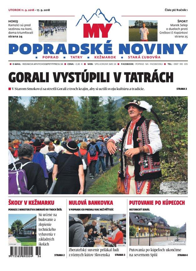 Titulná strana týždenníka MY Popradské noviny č. 36/2018.