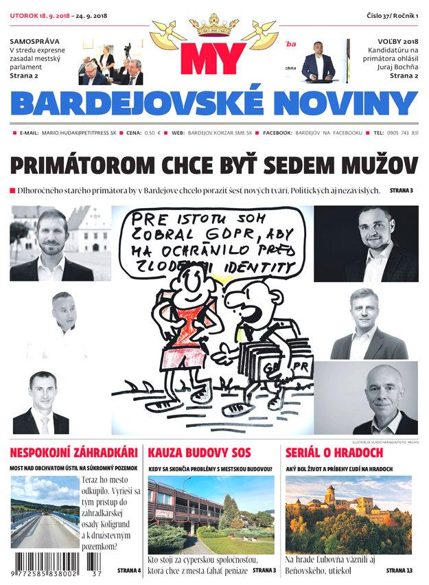 Titulná strana týždenníka MY Bardejovské noviny č. 37/2018.