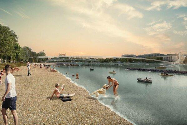 Predstava o budúcnosti dunajského nábrežia s mestskou plážou.