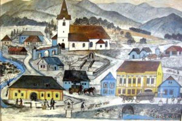 Všetky dôležité budovy Valče autor zachytil na jednom obraze.