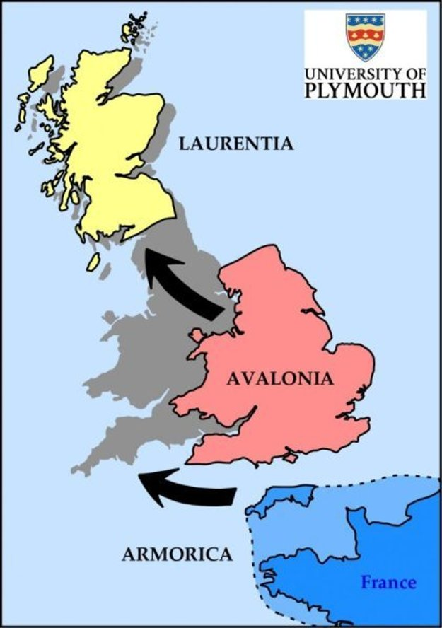 Grafika ukazuje, ako sa mohli zraziť dávne časti zeme Laurentia, Avalonia a Armorica a vytvoriť tak Anglicko, Škótsko a Wales.