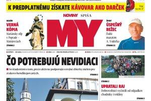 Titulná strana týždenníka MY Noviny Spiša č. 38/2018.