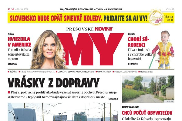 Titulná strana týždenníka MY Prešovské noviny č. 42/2018.