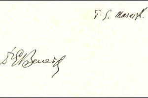 Zberateľský unikát. Na jednej kartičke spoločne podpísaní prezidenti Beneš aMasaryk.