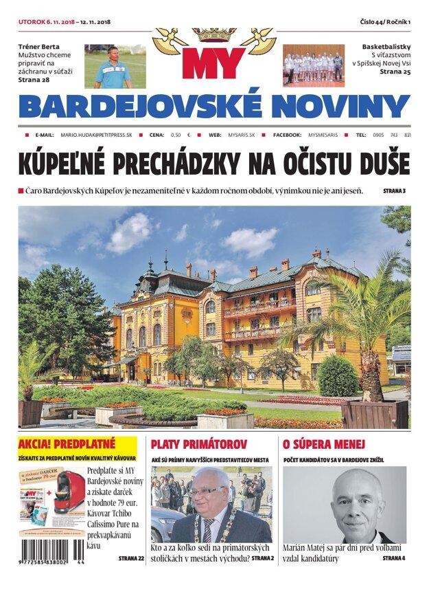 Titulná strana týždenníka MY Bardejovské noviny č. 44/2018.