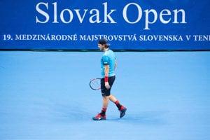 Slovenský tenista Lukáš Lacko počas tenisového zápasu 1. kola dvojhry mužov na turnaji ATP Challenger Tour Peugeot Slovak Open 2018 - ilustračná fotografia
