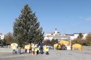 Dnes postavili na námestí vianočný strom aj stánky.