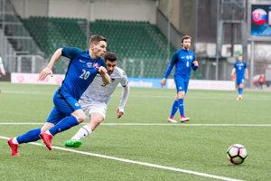 Nikolas Špalek v zápase reprezentácie do 21 rokov proti Albánsku.