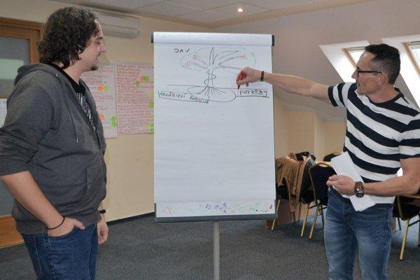 Ivan Siláči, koordinátor projektu v Lučenci s lektorom a manažérom Rastislavom Očenášom.