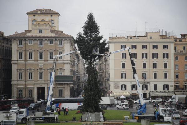 Poškodený strom, ktorý má byť symbolom Vianoc pri pomníku neznámeho vojaka v Ríme.