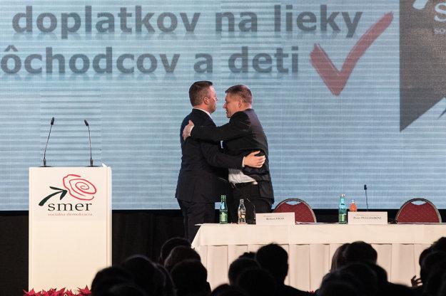 Premiér Pellegrini a predseda Smeru Fico.