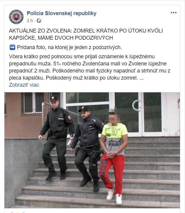 Polícia už na facebooku zverejnila aj fotku s jedným podozrivým.