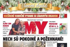 Titulná strana týždenníka MY Prešovské noviny, vianočné dvojčíslo 50-51, 2018.