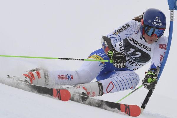 Slovenská lyžiarka Petra Vlhová na trati v 1. kole obrovského slalomu žien Svetového pohára 21. decembra 2018 vo vo francúzskom stredisku Courchevel