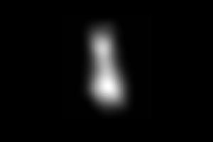 Najdetailnejší záber Arrokoth k 31. decembru. Vzdialenosť viac ako osemsto tisíc kilometrov od telesa.