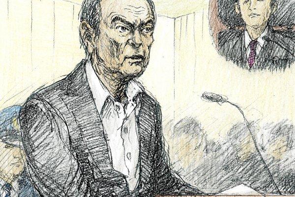 Skica Carlosa Ghosna pred súdom.