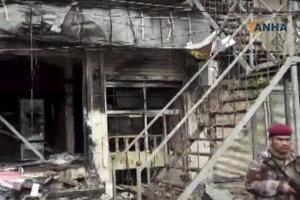 Miesto atentátu v Mandžíbe.