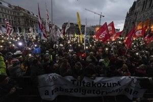 Januárové protivládne protesty v Budapešti.