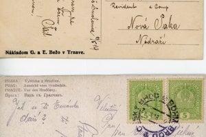 Dve pohľadnice: tá z Vianoc 1918 (dole) ešte s rakúskou známkou a tá z mája 1919 (hore) už s československou.