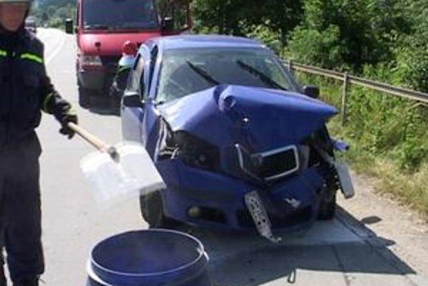 Keďže z auta unikla chladiaca zmes, hasiči cestu posypali vapexom.