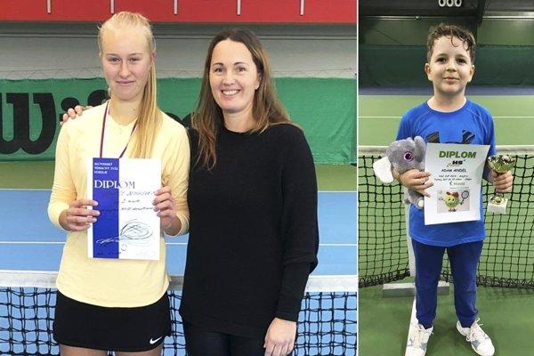 Bianca Behúlová s trénerkou Andreou Hradeckou. Vpravo 9-ročný Adam Andel.