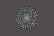 Pinnova-Brelstaffova ilúzia. Sústreďte sa na bodku v strede a hlavou sa približujte a vzďaľujte od obrazovky.