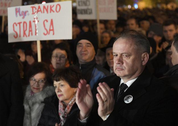 Prezident Kiska na proteste v Košiciach.