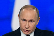 Ruský prezident Vladimír Putin počas prejavu o stave Ruska.
