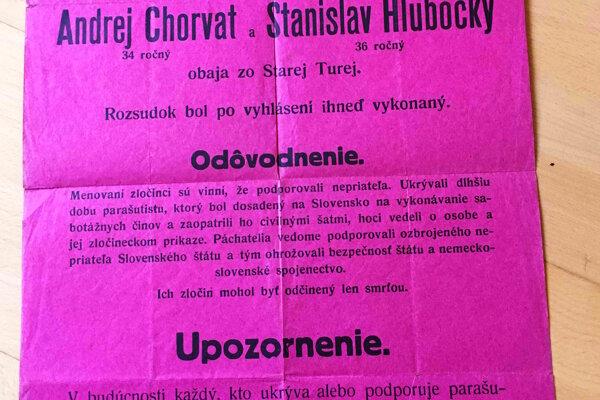 Oznámenie o poprave S. Hlubockého a O. Chorváta
