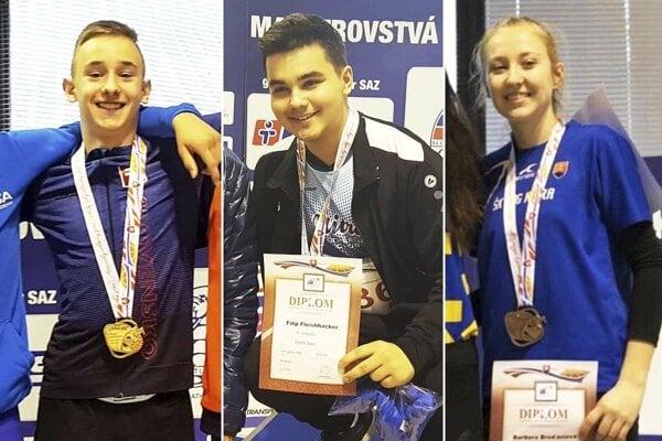 Zľava Matúš Čery, Filip Fleischhacker a Barbora Broďániová.