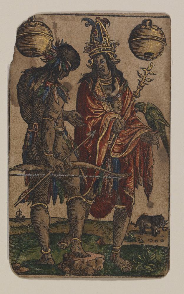 Karta kráľa zvoncov zo sady Petra Flötnera z Norimbergu pochádza z rokov 1485 – 1546, © Germanisches Nationalmuseum, Norimberg, foto: Monika Runge
