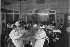 Dobový záber z roku 1914, na ktorom obyvateľky Toronta vyrábajú machové obväzy. Výsledok ich práce putoval na front a zachraňoval zranených vojakov.