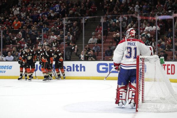 Momentka zo zápasu Anaheim - Montreal.