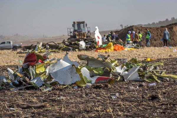Trosky boeingu 737 po havárii v Etiópii.
