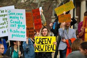 Protestujúci študenti v New Yorku.