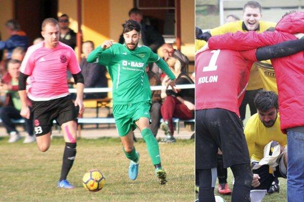Dvaja z hrdinov víkendu - v zelenom Peter Zaujec, striedajúci krídelník Čechyniec, vpravo dolu Norbert Varga, prezident Kolíňan, ktorý vyrovnával na 1:1 vo Volkovciach.