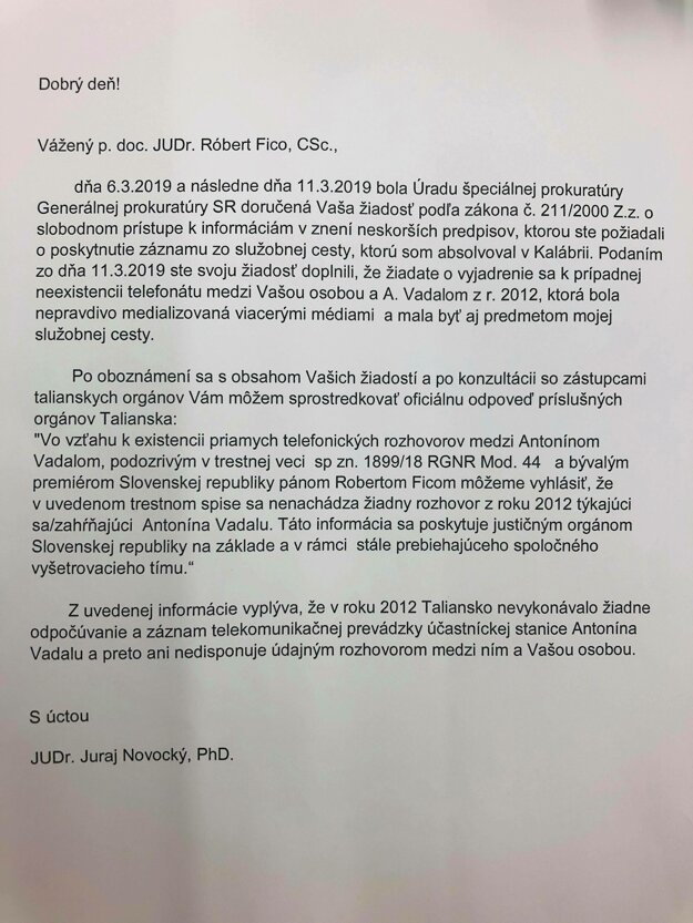 Fico zverejnil celý list od špeciálneho prokurátora Novockého.