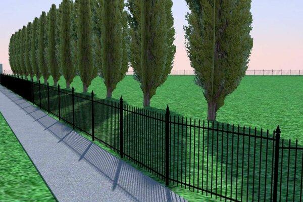 Vizualizácia cintorína po vysadení nových stromov.