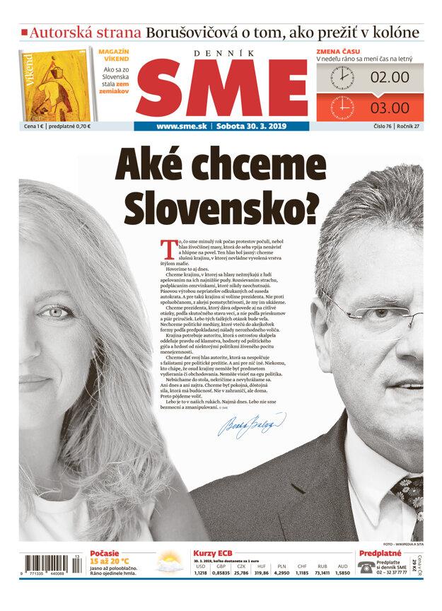 Titulná strana sobotňajšieho vydania denníka SME.