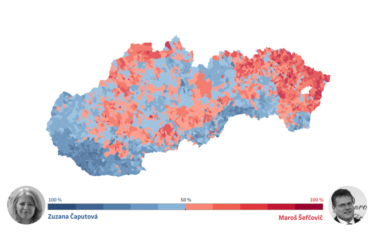 00d9f4454850 Volebná mapa  Kde získali hlasy Čaputová a Šefčovič - SME