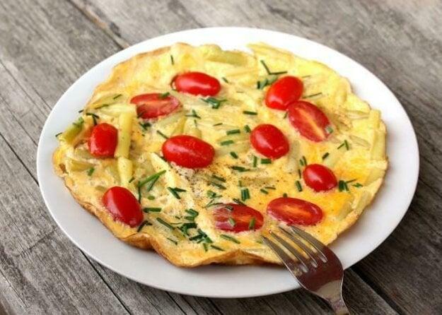 Omeleta so zelenou fazuľkou