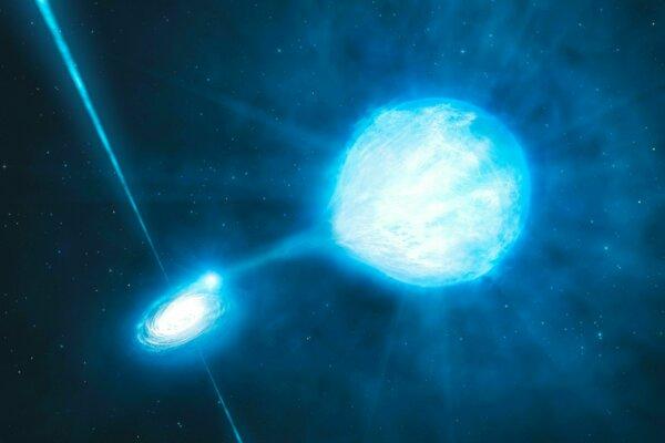 Umelecká predstava o dvojsústave NGC 300 X-1, v ktorej hviezdu pomaly pohlcuje čierna diera.