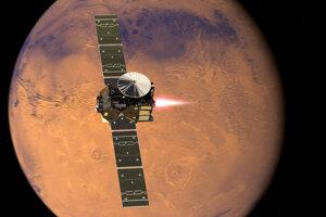 Vizualizácia sondy ExoMars a modulu Schiaparelli, ktorý v roku 2016 neúspešne pristál na Marse.