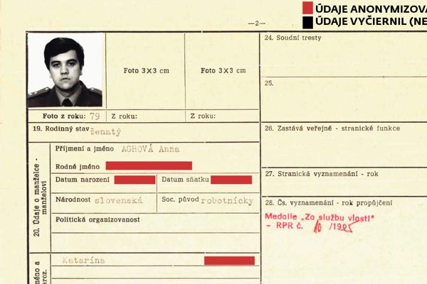 Fotografia Štefana Agha z roku 1979 v jeho osobnej evidenčnej karte.