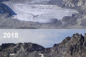 Vývoj ľadovca Pizol za dvanásť rokov. Malý ľadovec zrejme úplne zmizne v blízkej budúcnosti.