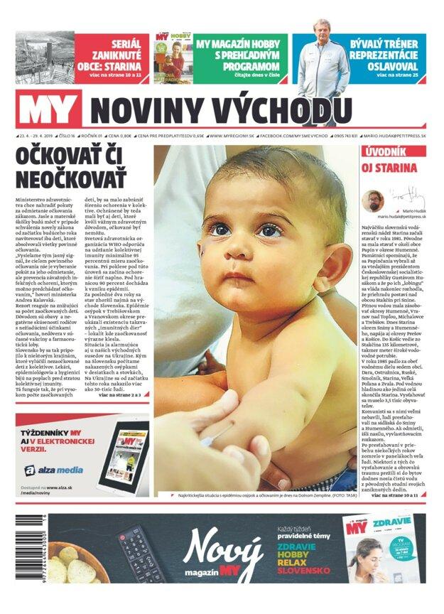 Titulka nového vydania týždenníka MY Noviny východu, číslo 16.