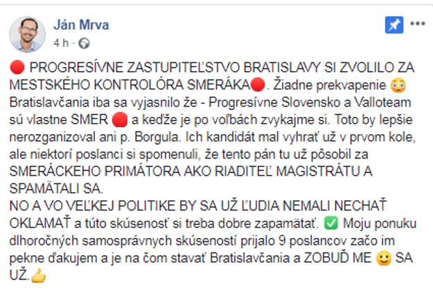 Neúspešný kandidát na post mestského kontrolóra Ján Mrva kritizuje Team Vallo za výber kandidáta.