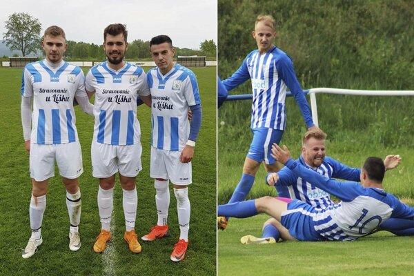 Vľavo traja strelci Zbehov proti Oponiciam. Vpravo radosť hráčov Veľkého Zálužia po víťaznom góle Mariána Pograna.